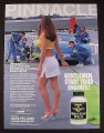 Magazine Ad for Pinnacle Horny Goat Weed, racers, Sexy Woman with Green Flag, 2003
