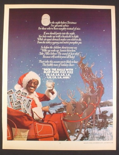 Magazine Ad for Alka Seltzer, Sammy Davis Jr as Santa Claus, Celebrity Endorsement, 1979