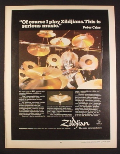 Magazine Ad for Zildjians Drum Cymbals, Peter Criss of KISS, Celebrity, 1979, 10 1/4 by 13 1/4