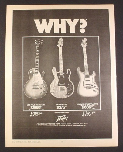 Magazine Ad for Peavey Electric Guitars, Les Paul Standard, Peavey T-60, Fender Stratocaster, 1979