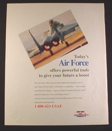 Magazine Ad for Air Force Recruitment, Powerful Tools To Give Your Future A Boost, 1994