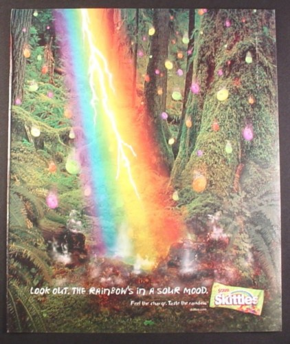 Magazine Ad for Sour Skittles Candy, Rainbow Lightning, 2001, 10 by 12