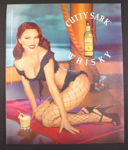 Magazine Ad for Cutty Sark Whisky, Sexy Angela in Fishnet Stockings, 2001, 10 by 12
