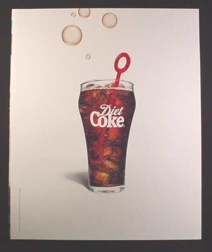 Magazine Ad for Diet Coke, Glass with Bubble Blower, 2001, 10 by 12