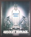 Magazine Ad for Absolut Homage, Absolut Vodka, Martini Glasses Bowing to Bottle, 2001