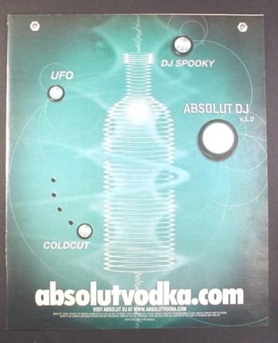 Magazine Ad for Absolut DJ, Absolut Vodka, DJ Spooky, UFO, Coldcut, 2001, 10 by 12