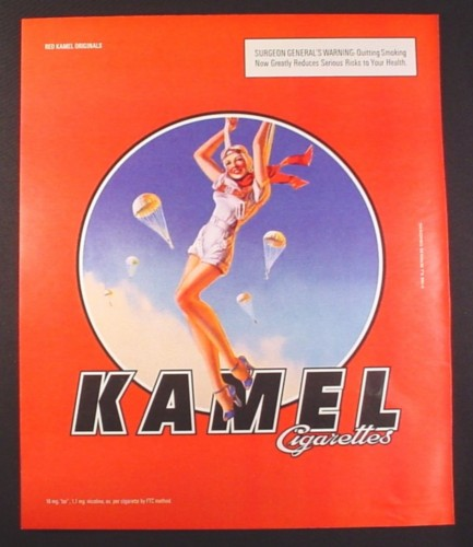 Magazine Ad for Kamel Cigarettes, Pin-Up Girl Parachuting, 2001, 10 by 12
