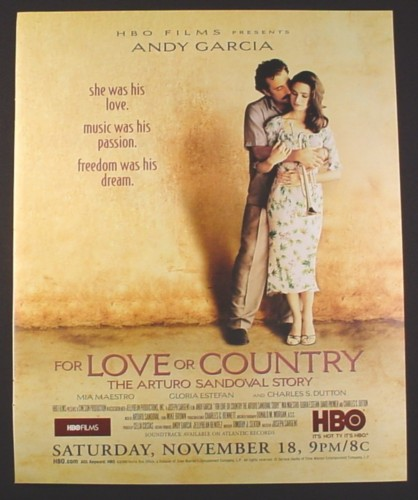 Magazine Ad for For Love Or Country, HBO Movie, Andy Garcia, Mia Maestro, 2000, 10 by 12