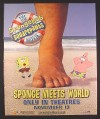 Magazine Ad for Spongebob Squarepants Movie, Sponge Meets World, 2004, 10 by 12