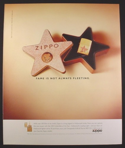 Magazine Ad for Zippo Lighters, Stars of Hollywood Series, in Star Tin, 2001, 10 by 12