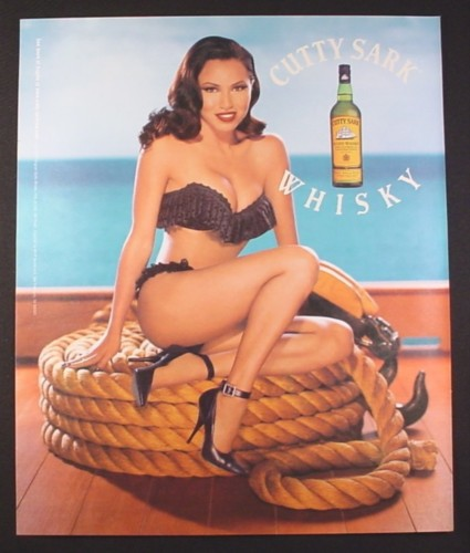 Magazine Ad for Cutty Sark Whisky, Sexy Pin-Up Model on Coil Of Rope, 2001, 10 by 12
