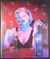 Magazine Ad for Skyy Vodka, #31 Bubble Lounge, Sexy Model with Bubbles & Pin, 2003, 10 by 12