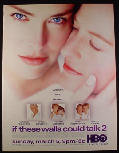Magazine Ad for If These Walls Could Talk 2 HBO Movie, Ellen Degeneres, Sharon Stone, 2003
