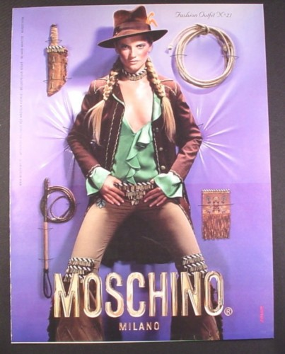 Magazine Ad for Moschino Milano Fashion Outfit No 21, Sexy Model, Indiana Jones Style, 2003