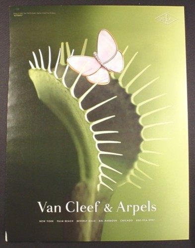 Magazine Ad for Van Cleef & Arpels, Butterfly Pin on Venus Flytrap, Larger Size Ad, 2001