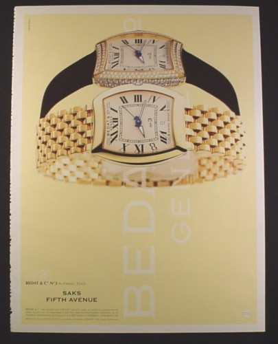 Magazine Ad for Bedat & Co No 3 men's & Ladies Watches, Larger Size Ad, 2001, 10 by 13 1/8
