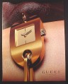 Magazine Ad for Gucci Gold Watch, Timepieces, Larger Size Ad, 2001, 10 by 13 1/8