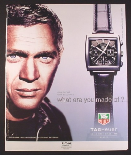 Magazine Ad for Tagheuer Watch, Steve McQueen, Celebrity, Larger Size Ad, 2002, 10 by 12