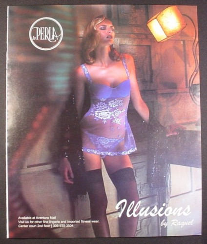 Magazine Ad for La Perla Illusions by Raquel, Model in Purple Lingerie, 2002, 10 by 12