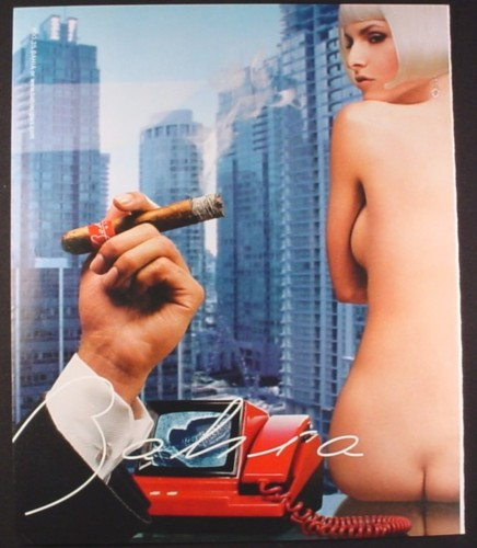 Magazine Ad for Bahia Cigars, Nude Woman Sitting on Desk, 2002, 10 by 12