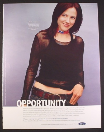 Magazine Ad for Ford Breast Cancer Cause, Mary-Louise Parker, Celebrity, 2002, 10 by 12