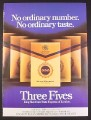 Magazine Ad for Three Fives Cigarettes, British, 1978, 9 by 12 1/2