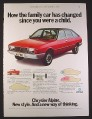 Magazine Ad for Chrysler Alpine Car, 1978, 9 by 12 1/2