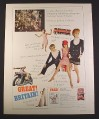 Magazine Ad for British Travel, Mod Clothes, 1967, 10 1/2 by 13 1/4