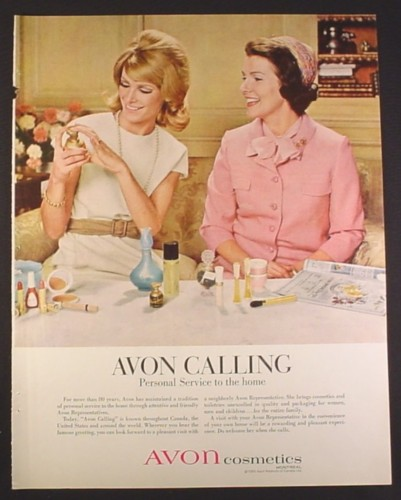 Magazine Ad for Avon Calling, Representative & Woman, 1967, 10 1/2 by 13 1/4