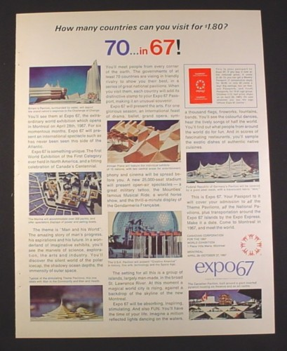 Magazine Ad for Expo 67, World Exhibition, 70 Countries in 67, 1966, 10 1/2 by 13 1/4
