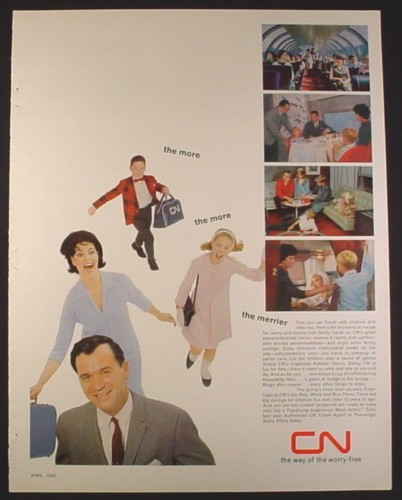 Magazine Ad for CN Rail, Interior Views Of Cars, 1966, 10 1/2 by 13 1/4