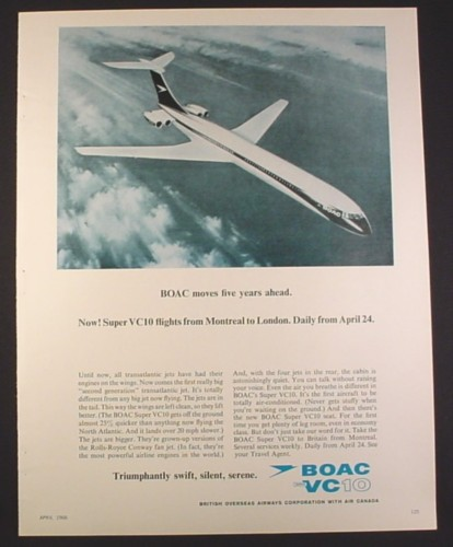 Magazine Ad for BOAC Super VC10 Airplane, TransAtlantic Flight, 1966, 10 1/2 by 13 1/4