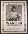 Magazine Ad for I Dreamed I was Wanted in My Maidenform Bra, Wanted Poster, 1960
