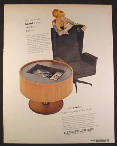 Magazine Ad for Electrohome Circa 703 Round Stereo Console & Chair with Speakers, 1967