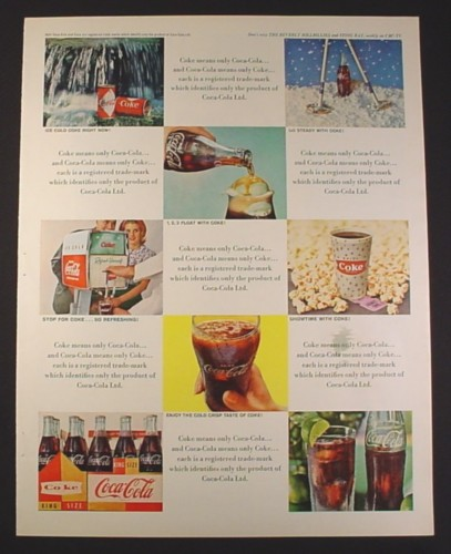 Magazine Ad for Coca-Cola Coke, Shows Bottles Case Dispenser Cup Cans Glass, 1964