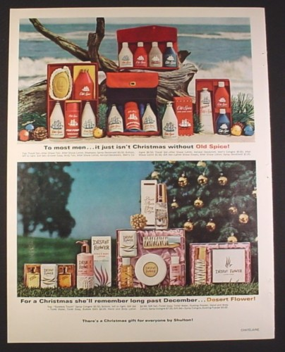 Magazine Ad for Old Spice & Desert Flower Gift Sets, 1965, 10 1/2 by 13 1/4
