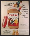 Magazine Ad for Squirrel Peanut Butter, Kids Climbing On Jar, Peanut Puppets, 1974