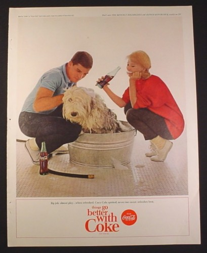Magazine Ad for Coca-Cola Coke, Bathing An English Sheepdog In a Tub, 1963, 10 1/2 by 13 1/4