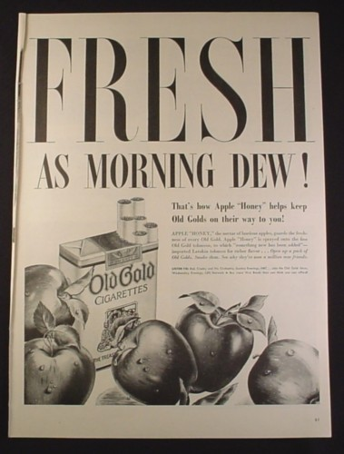 Magazine Ad for WWII Era Old Gold Cigarettes, Fresh As The Morning Dew, 1944