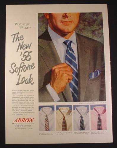 Magazine Ad for Arrow Softone Ensembles Men's Shirts & Ties, 1954, 10 1/2 by 13 7/8