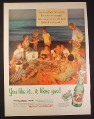Magazine Ad for 7UP Seven Up Soft Drinks, Bottles & Case, Beach Bonfire, 1954