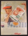 Magazine Ad for Kellogg's Corn Flakes Cereal, Boy in Grey Baseball Uniform, 1954