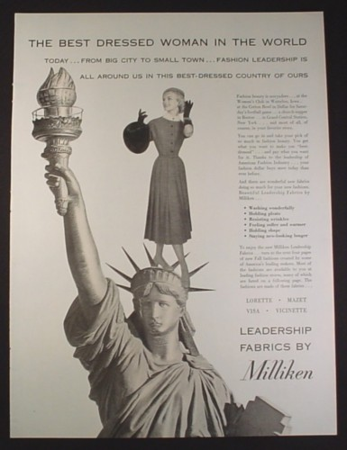 Magazine Ad for Leadership Fabrics by Milliken, Statue of Liberty, Best Dressed Woman, 1954