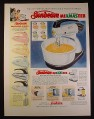 Magazine Ad for Sunbeam MixMaster & MixMaster Junior, 5 Colors, 1954, 10 1/2 by 13 7/8