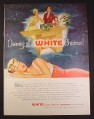 Magazine Ad for White Sewing Machine Corp, Woman Dreaming, 1954, 10 1/2 by 13 7/8