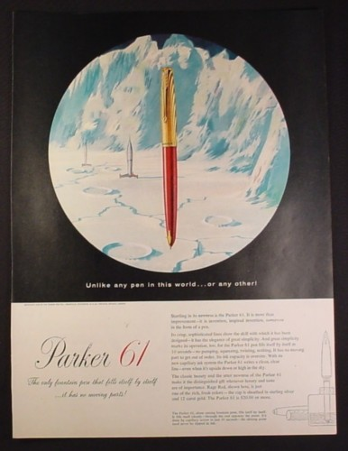 Magazine Ad for Parker 61 Fountain Pen, Moon Scene, 1954, 10 1/2 by 13 7/8