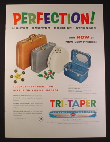Magazine Ad for American Tourister Tri-Taper Luggage, 1954, 10 1/2 by 13 7/8
