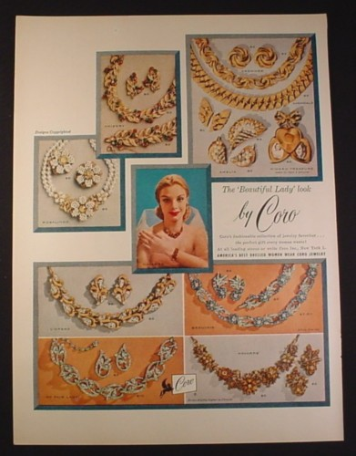 Magazine Ad for Coro Jewelry, 7 Styles, Designs, 1954, 10 1/2 by 13 7/8