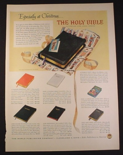 Magazine Ad for The Holy Bible, King James Version, 7 Styles, 1954, 10 1/2 by 13 7/8