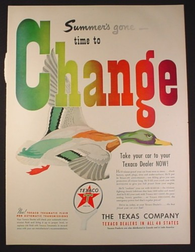 Magazine Ad for Texaco, The Texas Company, Summer's Gone Time To Change, 1949